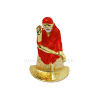 Sai Baba Statue, 6.5 cm, colourful, white metal