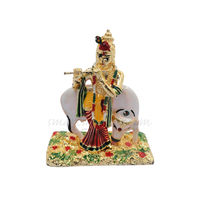 Krishna With Cow Statue, 7.5 cm, colourful, white metal