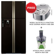 Hitachi Refrigerator RW720F Big French Inverter,  Glass Brown, 720 L