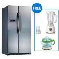 Midea 689 Ltr Side by Side Refrigerator Stainless Steel Finish HC689W,  silver