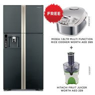 Hitachi Refrigerator RW910PUK Big french Glass Black Inverter, 910 L, BLACK