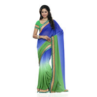 Aaliyah Blue and Green shaded georgette saree