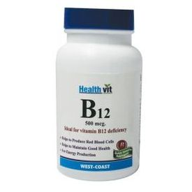HealthVit B12 500mcg 60 Tablets (Pack of 2)