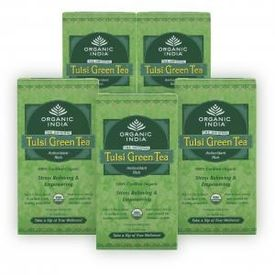 Organic India 5 Tulsi Green Tea Teabags Boxes
