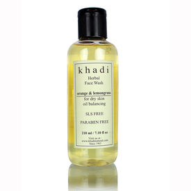 Khadi Orange & Lemongrass Face Wash - SLS & Paraben Free - For Dry Skin - 210 ml
