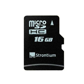 STRONTIUM 16GB MICRO SD CARD WITH ADAPTER CLASS 10,  black