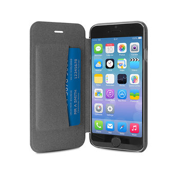PURO IPHONE 6 PLUS ECO-LEATHER COVER with horiz. flip+ CARD SLOT,  black