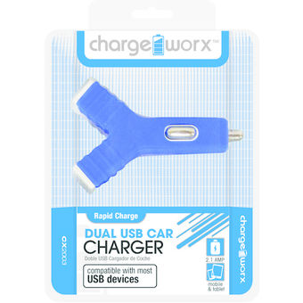 Charge Worx Dual USB Y Shape Car Charger Blue,  blue