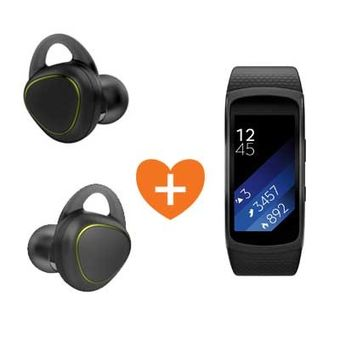 SAMSUNG BLUETOOTH STEREO GEAR ICON X HEADSET+ SAMSUNG FITNESS BAND LARGE,  white
