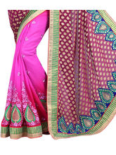 P. Puria Stylish Party Wear Designer Saree (PP100013404), red and pink