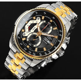 100% Authentic Casio Edifice Chronograph Men/s Gents Two Tone Sport Day Date Watch EF-558SG-1AVDF EF558SG Gold Silver (ED439)