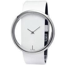 Exquisite Dial Leather Wrist Watch White