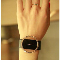Hollow Dial Leather Wrist Watch Black