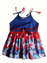 Red & Blue Floral Cool Summer Dress, 1-2 Years