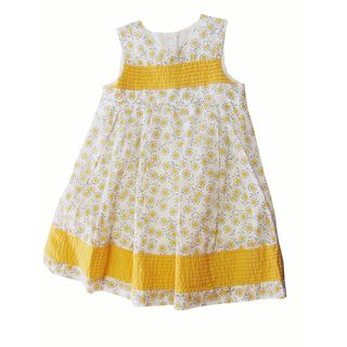 White Dress With Yellow Floral Print, 24-36 M