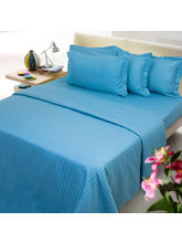 Royal Blue Stripe Double Bed Sheet With Two Pillow...