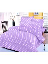 Purple And White Polka Dotted Bedsheet With Two Pi...