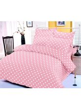 Baby Pink And White Polka Dotted Bedsheet With Two...