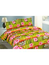 Mark Home Green And Pink Floral Cotton Double Bed ...