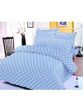 Blue And White Polka Dotted Bedsheet With Two Pill...