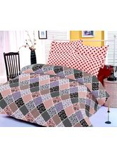 Pink And Maroon Bedsheet With Multicolored Print A...
