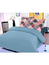 Blue Cotton Bedsheet With Polka Dotted Print And T...