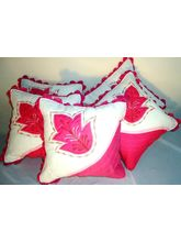 White & Pink Cushion Covers Set Of 5 Pc KF6014