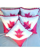 White & Pink Cushion Covers Set Of 5 Pc KF6017