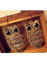 Owl Earrings In Antique Look, Antique Gold