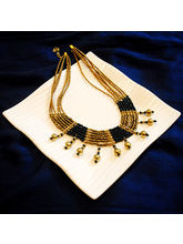 Black And Golden Beads Neck Piece