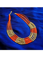 Red And Golden Beads Neck Piece