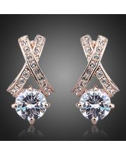 18k Real Gold Plated X Shaped Rare Austrian Crystal Studded Earrings