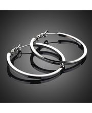 Classic Circular Hoop Earrings With Platinum Plating