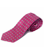 BLACKSMITHH TIES - GREY ALL OVER POLKA DOTS WITH PINK BASE