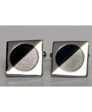 BLACKSMITHH CUFFLINKS - Chamfered Square Set With A Circular Central Insert Defined With A Shiny Finish.
