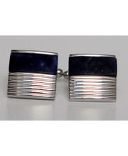 BLACKSMITHH CUFFLINKS - Strong Masculine Lines Define This Simple But Elegant Semi-Precious Cufflink With Sodalite In Shiny Rhodium.