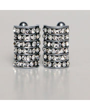 BLACKSMITHH CUFFLINKS - Forty Two Stunning Small Crystals Placed In Vertical Lines On A Convex Base Of A Semi Circle