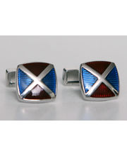 BLACKSMITHH CUFFLINKS - A Unique Alternate Of Blue And Red Enamel With Blue Swivel Bar At The Back, Gives This Cufflink A Designer Look