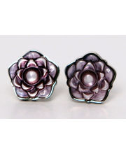 BLACKSMITHH CUFFLINKS - A UNIQUE FLORAL DESIGN IN PURPLE MOTHER OF PEARL SET IN A SILVER PLATED CASE