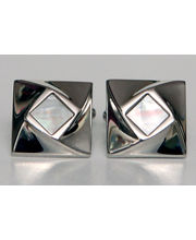 BLACKSMITHH CUFFLINKS - An Offset Square Of Semi-Precious Stone That Rises And Twists Out Of This Rhodium Plated Design Center Studded With Mother Of Pearl