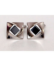 BLACKSMITHH CUFFLINKS - An Offset Square Of Semi-Precious Stone That Rises And Twists Out Of This Rhodium Plated Design Center Studded With Black Onyx