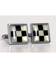 BLACKSMITHH CUFFLINKS - Alternate Checks Of Black Stone And White Mother Of Pearl Set In A Square Casing