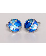 BLACKSMITHH CUFFLINKS - Subtle Under Engraving Beneath Vivid Enamel Gives Great Depths Of Colour Here, Perfectly Set Off With Three Clear Swarovski Crystals.