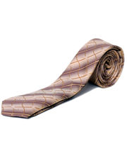 BLACKSMITHH TIES - BEIGE AND PURPLE WAVES ALL OVER INTRICATE DESIGN