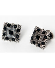 BLACKSMITHH CUFFLINKS - AN OPULENT DESIGN SET WITH BLACK SWAROVSKI CRYSTAL AND BLACK ONYX, SET IN AN ANTIQUE SILVER PLATED CASE WITH TONAL ENAMEL