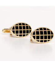 BLACKSMITHH CUFFLINKS - Square Black Enamel Checks On A Gold Oblong Backdrop For Easy To Wear