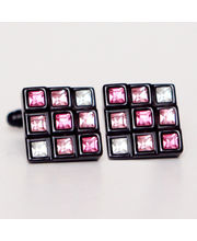 BLACKSMITHH CUFFLINKS - Intricate Combination Of Nine Squares Within The Square, Each Of Which Are Different Height Embedded With Pink And Clear Swarovski Crystals Set In Black Casing