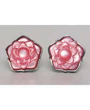 BLACKSMITHH CUFFLINKS - A UNIQUE FLORAL DESIGN IN PINK MOTHER OF PEARL SET IN A SILVER PLATED CASE