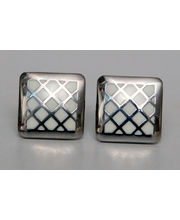 BLACKSMITHH CUFFLINKS- A Rounded Square With Diagonal White Checks In Enamel