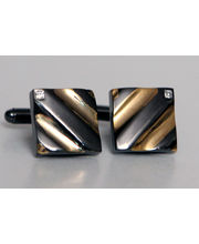 BLACKSMITHH CUFFLINKS - Detailed With Diagonal Grooves And Set With A Corner Set Clear Swarovski Crystal. This Beautifully Cufflink Is Molded In Two-parts To Create A Quirky Hollow Center.